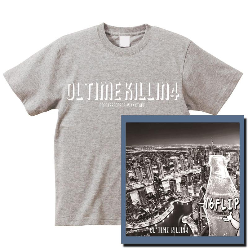 "16FLIP (MONJU,DJ KILLWHEEL) / 16フリップ / OL'TIME KILLIN' vol.4 ★ユニオン限定T-SHIRTS付セット""グレー""Lサイズ"