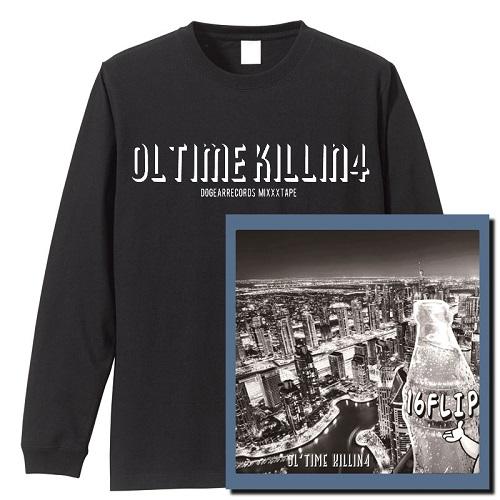 "16FLIP (MONJU,DJ KILLWHEEL) / 16フリップ / OL'TIME KILLIN' vol.4 ★ユニオン限定ロングスリーブ T-SHIRTS付セット""ブラック""Sサイズ"